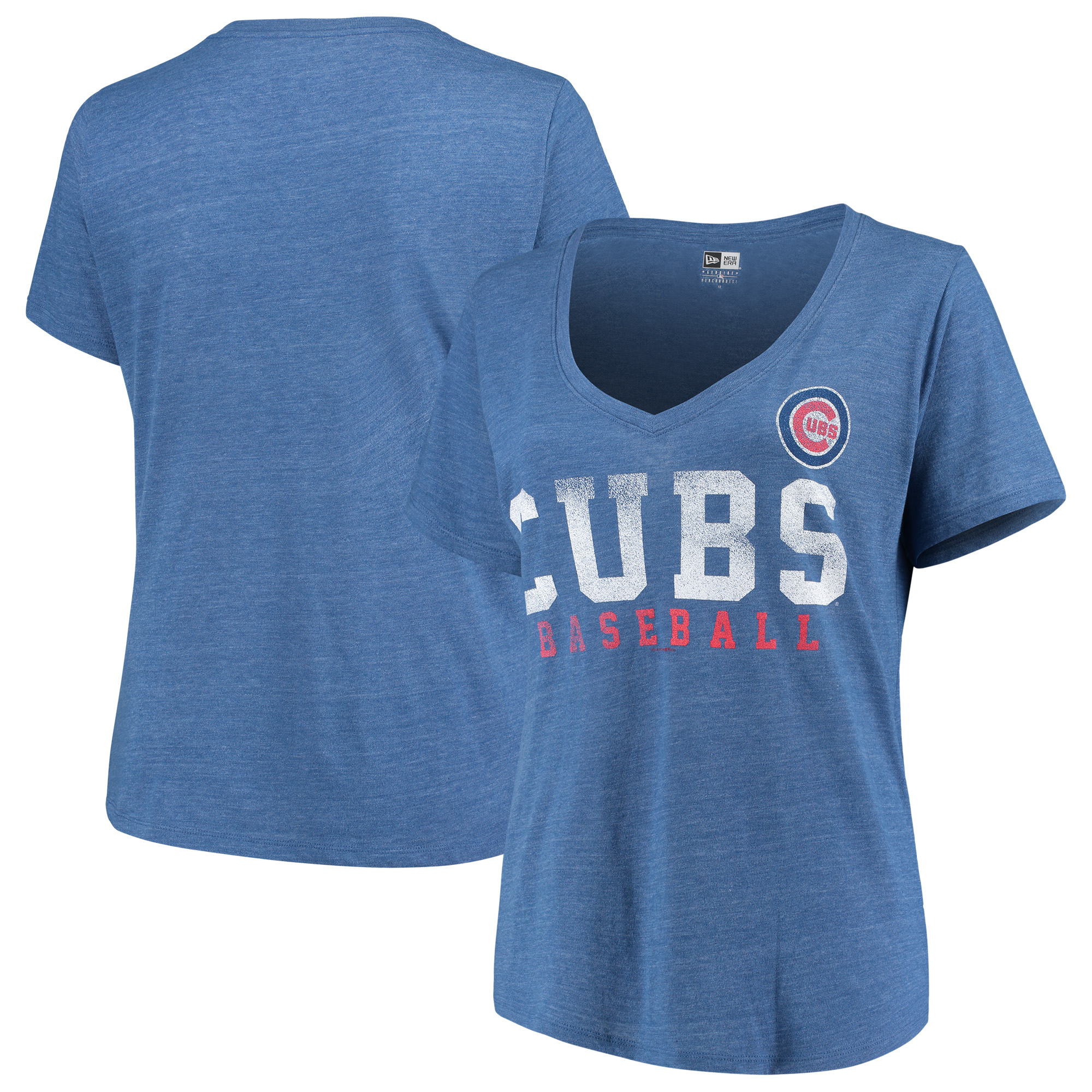 Chicago Cubs 5th & Ocean by New Era Women's Plus Size Tri-Blend Jersey V-Neck T-Shirt - Royal