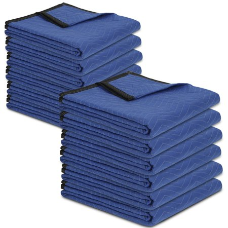 """Zeny Moving Blankets 80"""" x 72"""" Pro Economy - 12 Pack - Blue/Black Shipping Furniture Pads"""