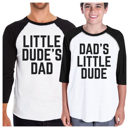 Little Dude Funny Matching Baseball Tees Gifts For Dad and Baby -