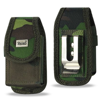 Vertical Rugged Pouch Motorola Razr2 V9 Army Green Camouflag Pattern With Buckle