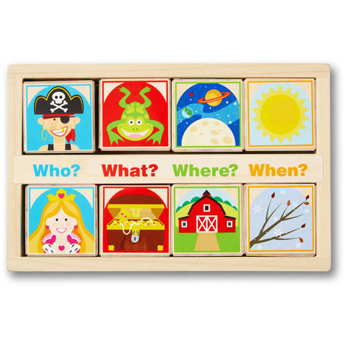 Image of Melissa & Doug Wooden Story Blocks Educational Toy - Roll the Blocks and Tell a Story