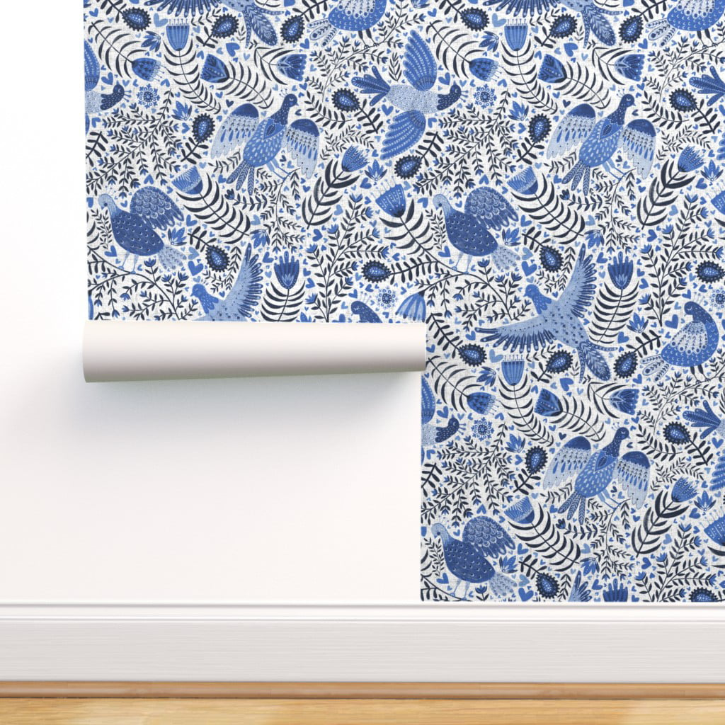 Removable Water Activated Wallpaper Blue Bird Floral Birds Indigo