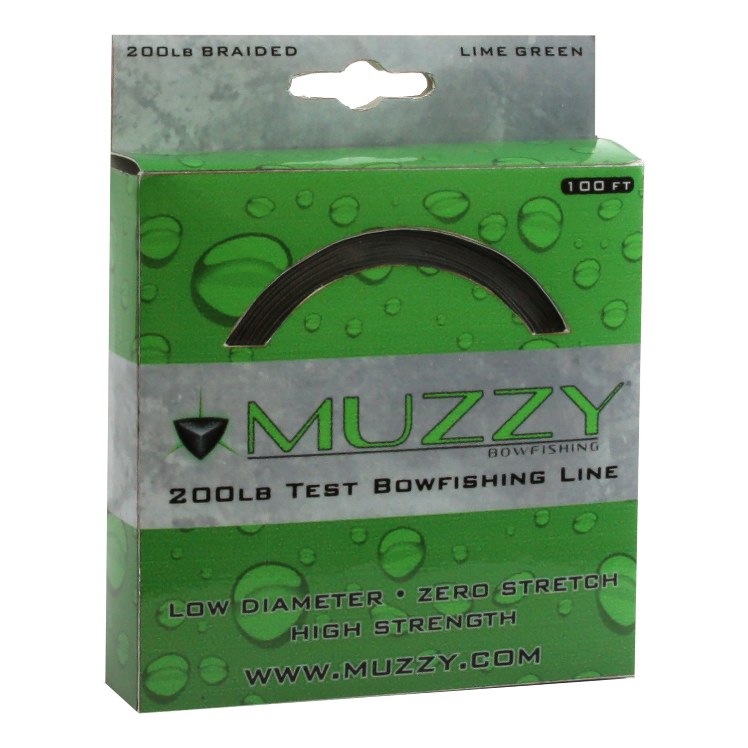 Muzzy 200# Braided Bowfishing Line, 100' Spool, Lime Green