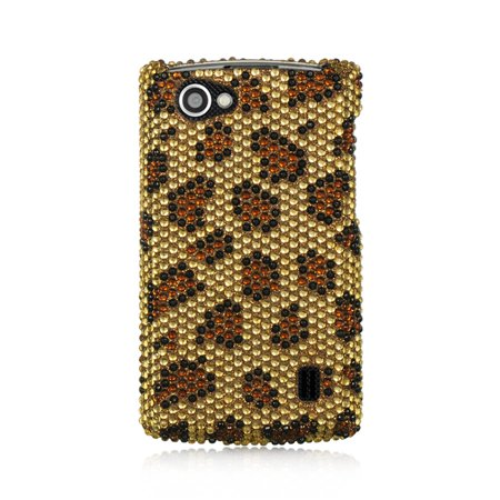 Leopard Full Diamond (Insten For Lg Optimus M+ / Ms695 Full Diamond Case Golden Leopard )
