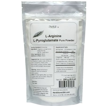 NuSci L-Arginine L-Pyroglutamate Powder 250g (8.8 oz) Pure Memory Aid