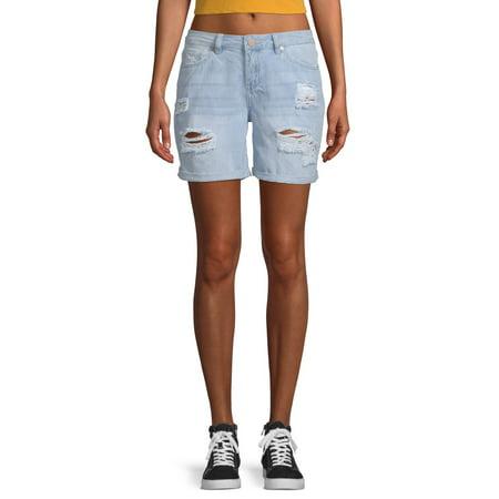 Juniors' Mid Rise Cuffed Distressed Bermuda Shorts (Mid Rise Bermuda)