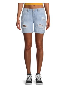 90f1308536 Product Image Juniors' Mid Rise Cuffed Distressed Bermuda Shorts