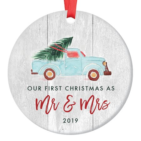 Newlywed Christmas Ornament 2019, First Christmas as Mr & Mrs, Wedding Gift Idea, Blue Truck Tree Ceramic Rustic Farmhouse 3