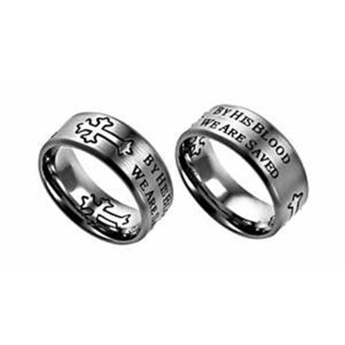 Ring-NEO Cross-Silver-By His Blood (Mens)-Sz  9
