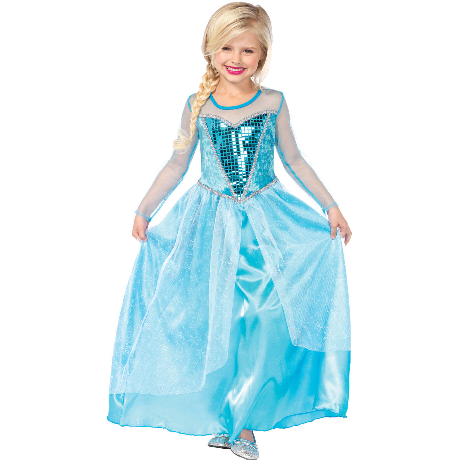 Girls' Fantasy Snow Queen Long Dress w/ Glitter Skirt