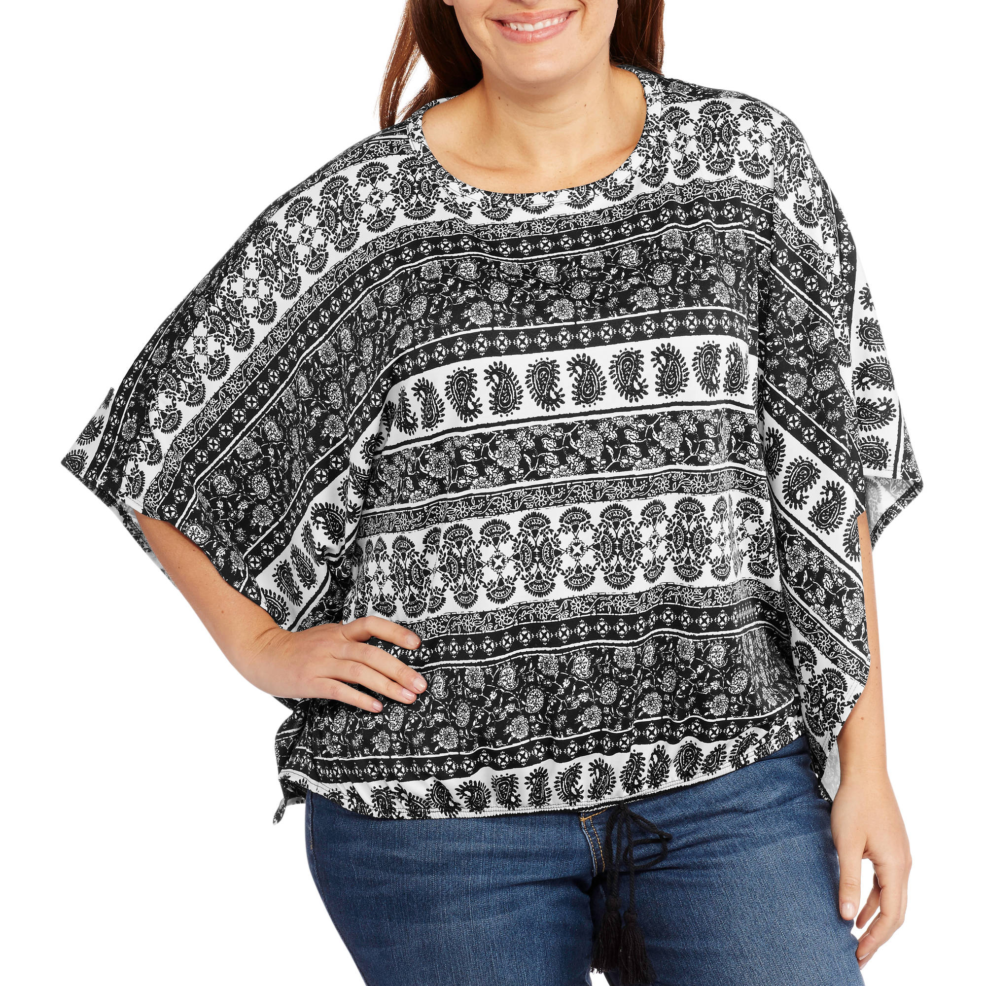 Glamour and Co. Women's Plus-Size Printed Long Sleeve Woven Top