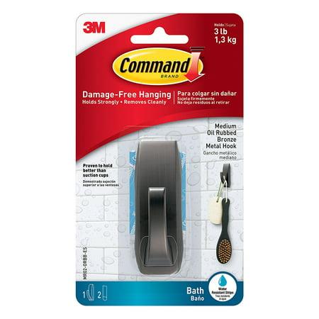 Command Modern Reflections Metal Bath Hook, Medium, Oil Rubbed Bronze, 1-Hook with Water-Resistant Strips (MR02-ORBB-ES)](Mr Smee Hook)