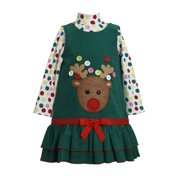 Bonnie Jean Collection: Button Reindeer Baby Christmas Dress . Infant Sizes 6-9 months