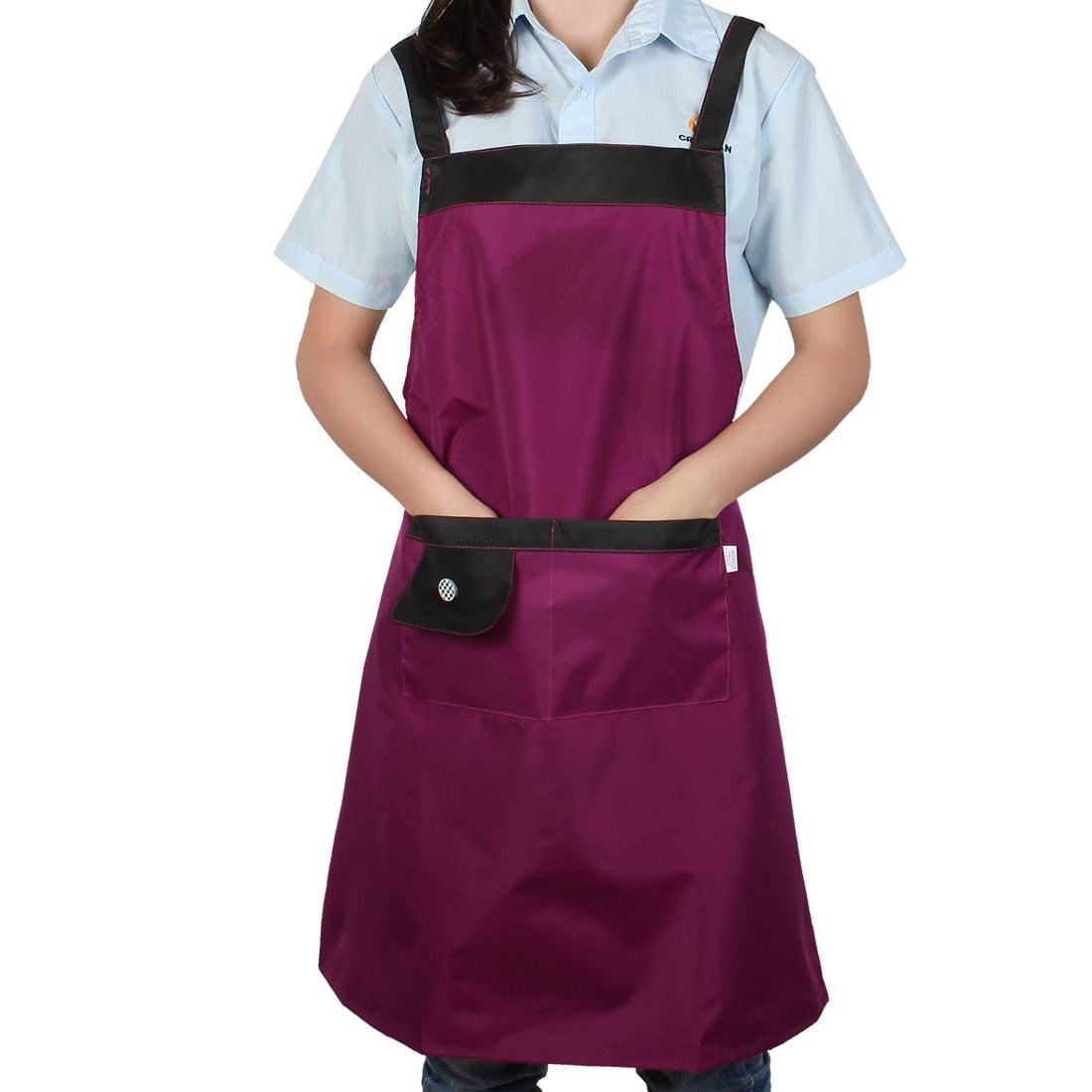Household Restaurant Kitchen Waterproof Fuchsia Cooking Apron Bib Dress w Pocket