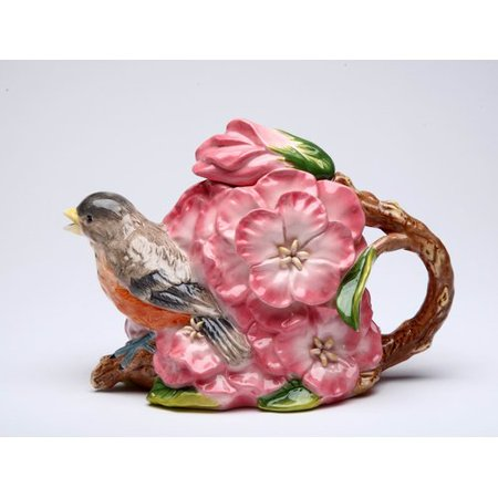 August Grove Grindstaff Robin with Flowers 0.37 -qt. Porcelain China Teapot