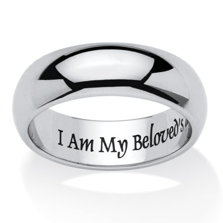 I Am My Beloveds And My Beloveds Is Mine Ring In Stainless And Black Ip Stainless Steel