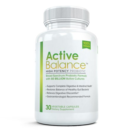 Active Balance High Potency Probiotic: Best Rated Probiotic with Acidophilus, 50 Billion CFU's, Vegan-Friendly, Shelf Stable Gut Health Supplement, 30 Capsules