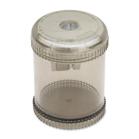 Integra Round Pencil Sharpener - Desktop, Handheld - 1 Hole[s] - Plastic, Aluminum - Smoke (ITA42851)
