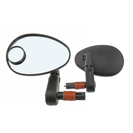 - Two 3D Mirror Bar End 222SBD with Lens Black. Set of bike mirrors. Pair of bicycle mirrors. 2 bike Mirrors.