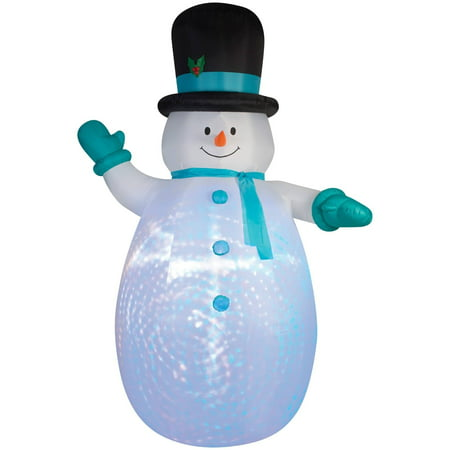 Snowman Swirl Projection Airblown Christmas Decoration - Female Snowman Costume