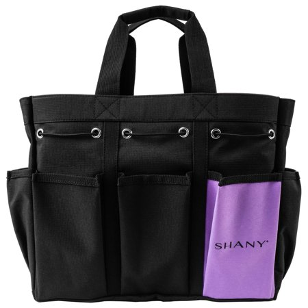 Beauty Tote (SHANY Beauty Handbag and Makeup Organizer Bag – Large Two-Tone Travel Tote with 2 Handles and 8 External Pockets – Black Canvas )