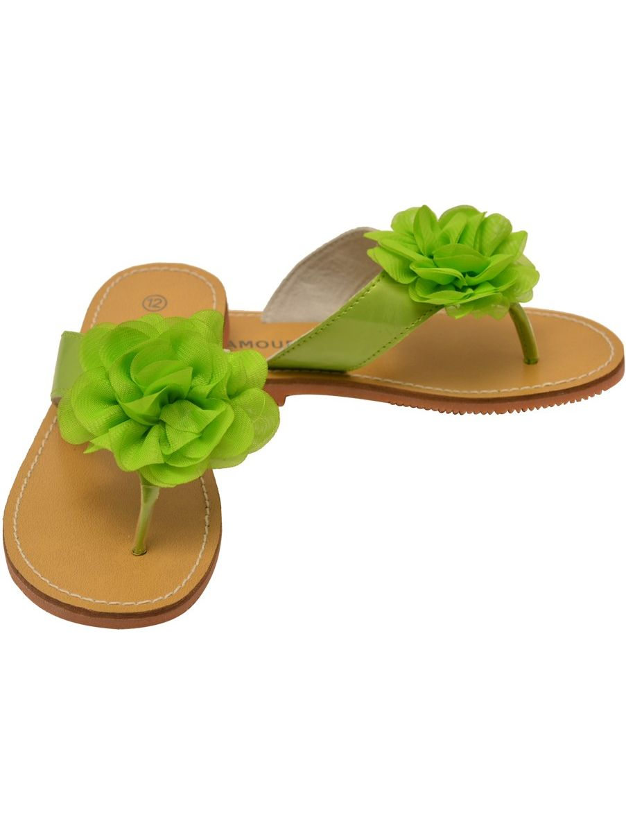 L'Amour Girls Thong Lime Organza Flower Adorned Thong Girls Sandals c99859