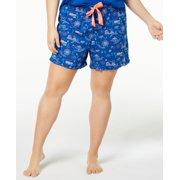 Jenni Woven Ruffle-Trim Boxer Shorts (Navy, 3X)