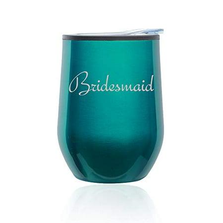 Stemless Wine Tumbler Coffee Travel Mug Glass with Lid Bridesmaid Bachelorette Wedding (Turquoise Teal) - Bachelorette Tumblers