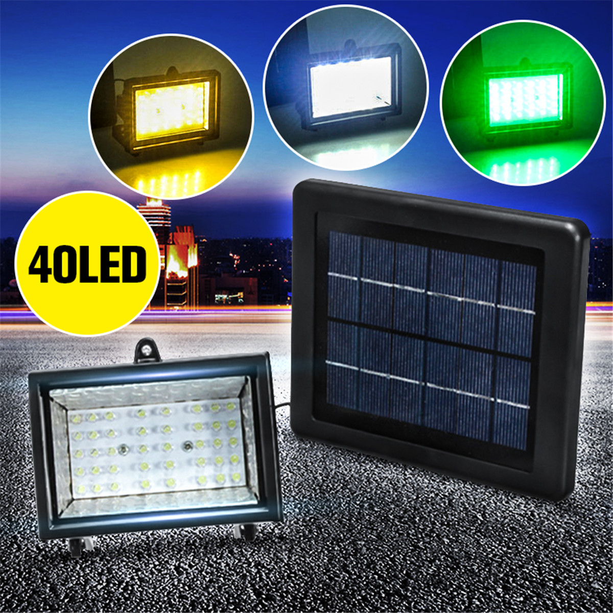 40 led waterproof solar power ultra bright spotlight garden lawn yard flood lightwhite