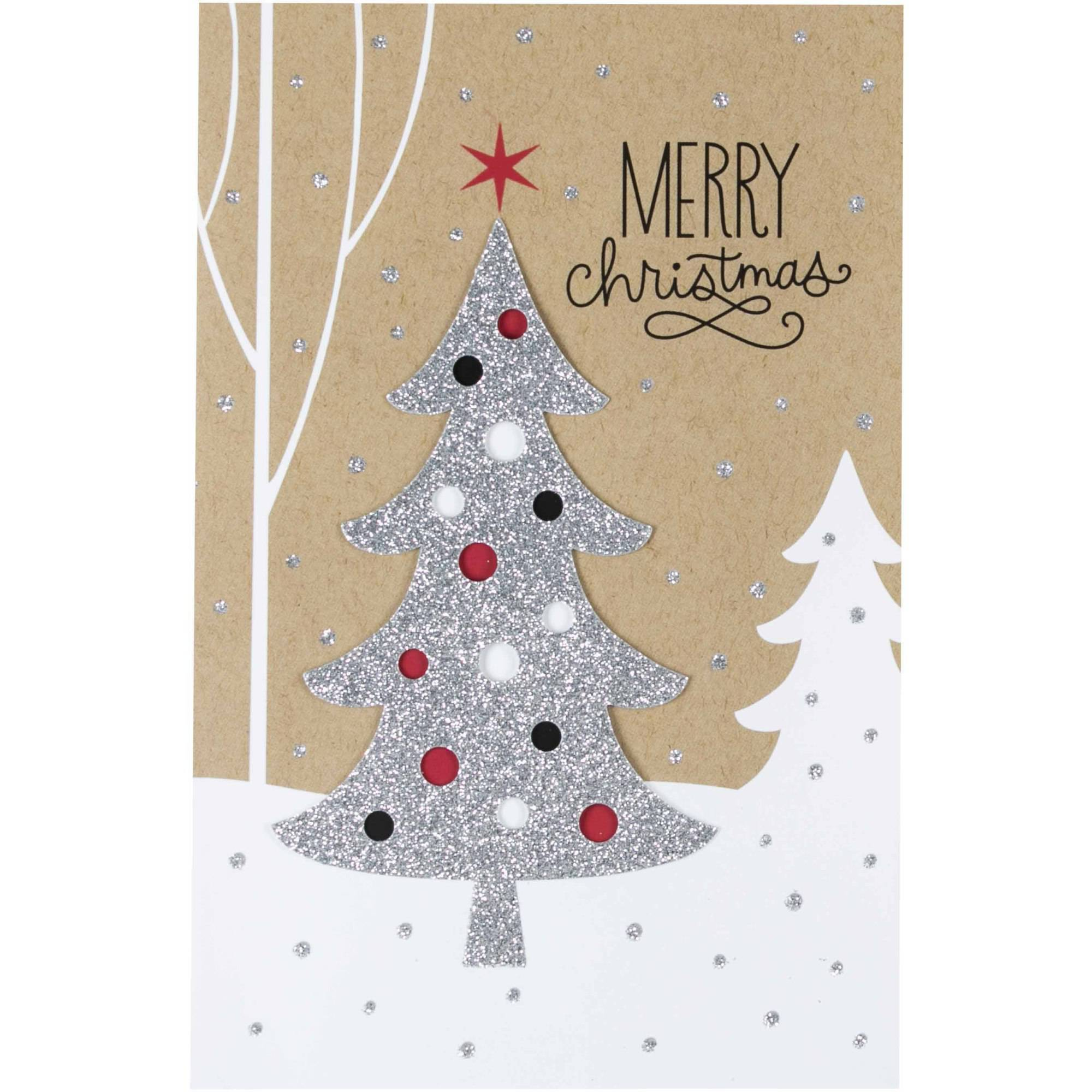 Hallmark Silver Glitter Tree Christmas Boxed Cards