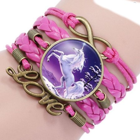 Unicorn Bracelet (Unicorn Bracelet Rose Pink Bronze Unicorn White Horse Braided Love Bracelet,)