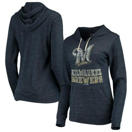 Milwaukee Brewers New Era Women's Jersey Tri-Blend Pullover Hoodie - Navy