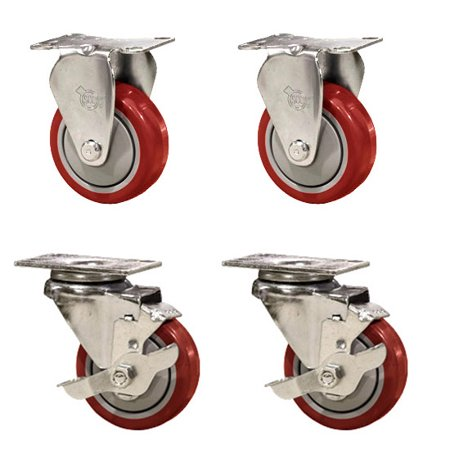 """- Service Caster – Non-Marking 3.5"""" Red Polyurethane Wheel – 2 Rigid and 2 Swivel Casters w/Brakes – Set of 4"""