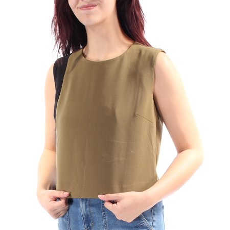 - BAR III Womens Green Slitted Color Block Sleeveless Jewel Neck Top  Size: M