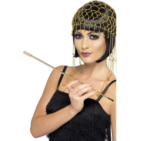 Roaring 20s Flapper Girl Gold Plated Extendable Cigarette Holder Accessory - 1920s Cigarette Holder