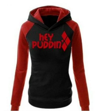 Suicide Squad Harley Quinn Black Hoodie Women's Casual Sweatshirts College Squad Coat
