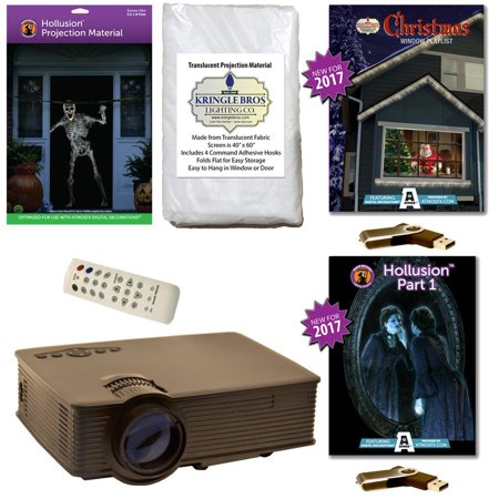 AtmosFearFx Christmas & Halloween Digital Decoration Kit includes 800 x 480 Projector, Hollusion (L) + Kringle Bros Projection Screens, Christmas & Hollusion 1 Compilation Videos on USB. - Halloween Screen Projection