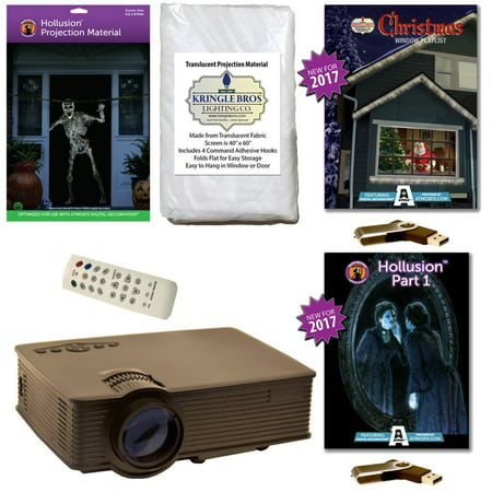 AtmosFearFx Christmas & Halloween Digital Decoration Kit includes 800 x 480 Projector, Hollusion (L) + Kringle Bros Projection Screens, Christmas & Hollusion 1 Compilation Videos on USB.