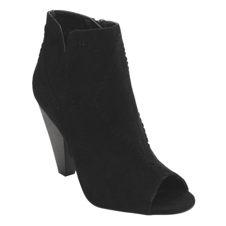 FD78 Women's Notched Stacked Cone Heel Ankle Bootie