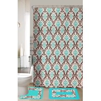 Lucy Turquoise Brown 15 Piece Bathroom Accessory Set 2 Bath Mats Shower Curtain