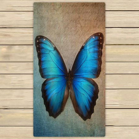 Blue Butterfly Towel (YKCG Vintage Blue Butterfly Hand Towel Beach Towels Bath Shower Towel Bath Wrap For Home Outdoor Travel Use 30x56 inches)