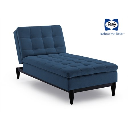 Sealy Montreal Transitional Convertible Chaise Sofa in Blue