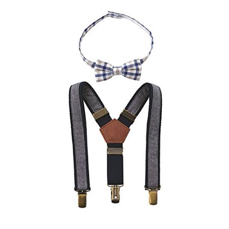 8d78e0acbcc2 Mud Pie Baby Boy'S Chambray Bowtie And Suspender Set Accessory, Blue, ...