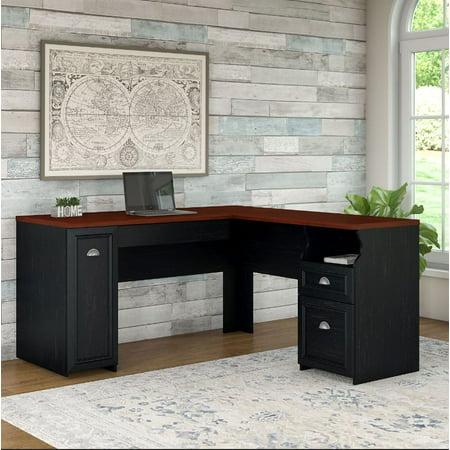 Bush Fairview Collection L-Shaped Desk, Antique Black and Cherry