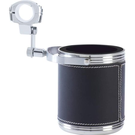 Diamond Plate™ Large Stainless Steel Motorcycle Cup Holder with Faux Leather Wrap (Motorcycle Cup Holder)
