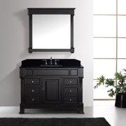 """Virtu USA Huntshire Manor 48-inch Single Bathroom Vanity Cabinet Set Huntshire Manor 48"""" Sqr Blk Top in Grey"""
