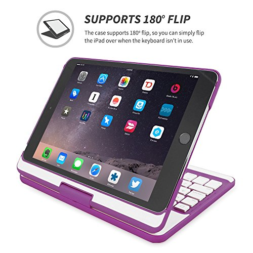 Snugg Wireless Bluetooth Keyboard Case Cover 360/° degree Rotatable Keyboard for iPad Mini 1 iPad Mini 1 iPad Mini 1 iPad Mini 2 and iPad Mini 3 iPad Mini 2 and iPad Mini 3 Keyboard Purple