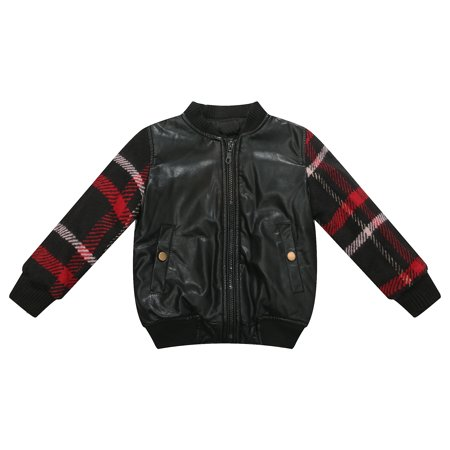 Richie House Little Boys Black Faux Leather Plaid Padding Jacket 2/3](Black Leather Jacket For Boys)