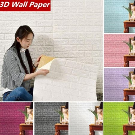 1PC PE Foam 3D Wallpaper 70x30cm Waterproof Self-adhesive Embossed Stone DIY Wall Sticker Decal Panels Color:White