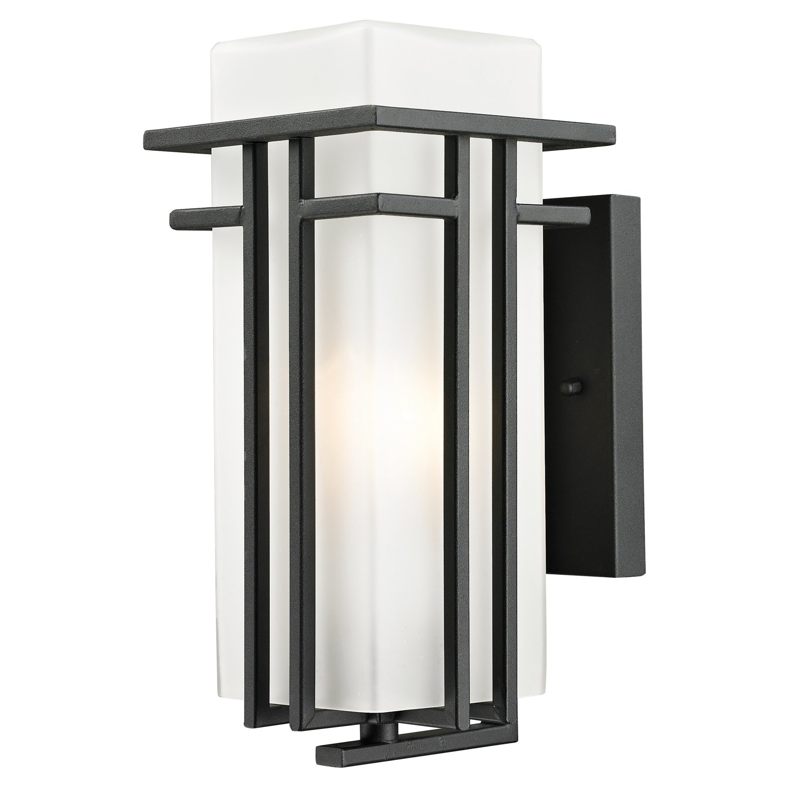 Z-Lite 549S Abbey 1-Light Outdoor Wall Sconce with Matte Opal Shade